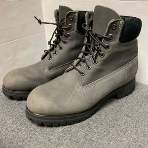 Timberland Gray Leather Lace Up Boot 10.5